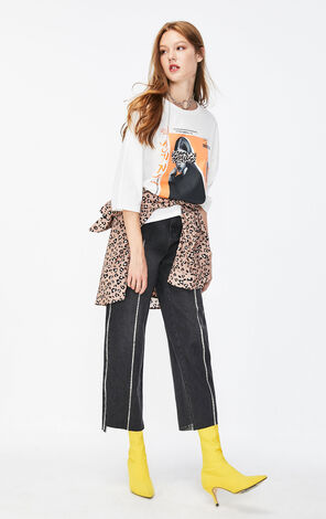 ONLY2019秋季新款豹紋印花寬鬆純棉T恤