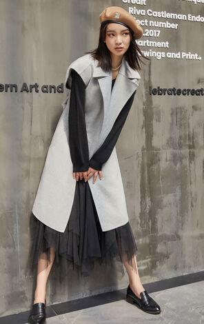 羊毛無袖西裝領灰毛呢大衣