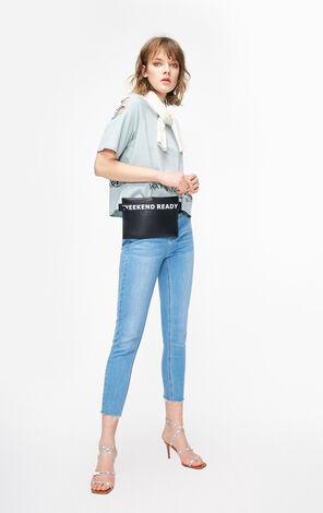 ONLY2019春季新款簡約顯瘦不收邊九分牛仔褲|119149574