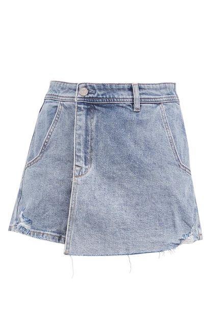 提臀刷破牛仔短褲, 藍, large