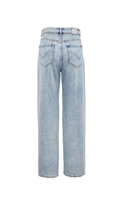 休閒寬鬆高腰寬鬆直筒破洞牛仔褲, 水藍色, large
