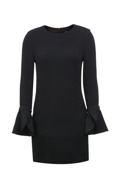 優雅花苞袖直筒短款洋裝, 黑, large