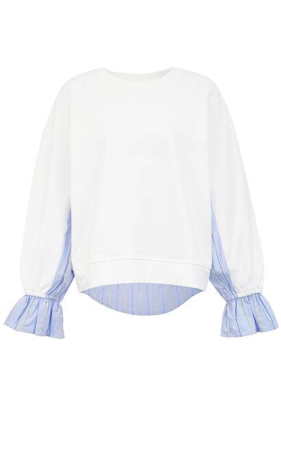 寬鬆圓領條紋拼接衛衣, 白, large