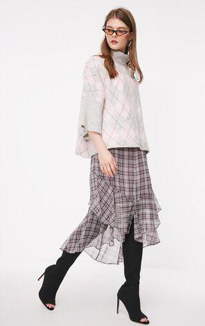 秋季新款高領七分袖針織衫女|118313535