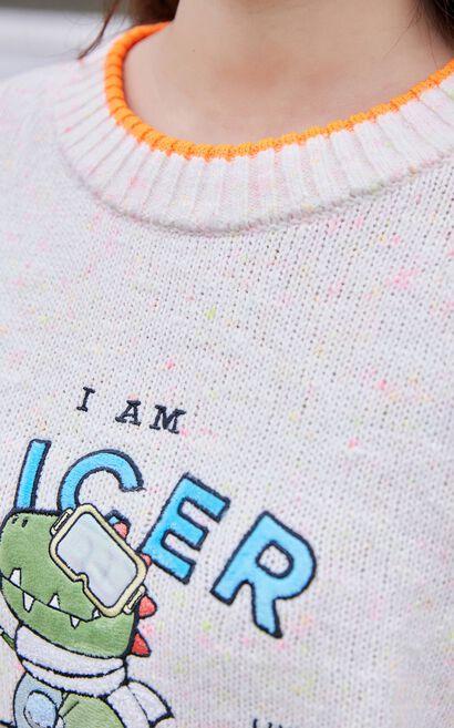 【冬季新款】小恐龍圖騰長袖針織衫, 白, large