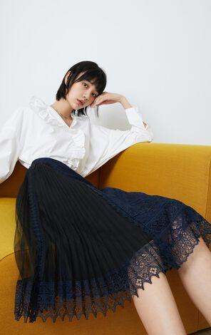 蕾絲網紗拼接中長款裙裝