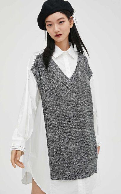 休閒簡約寬鬆設計感假兩件針織連衣裙, 灰色, large