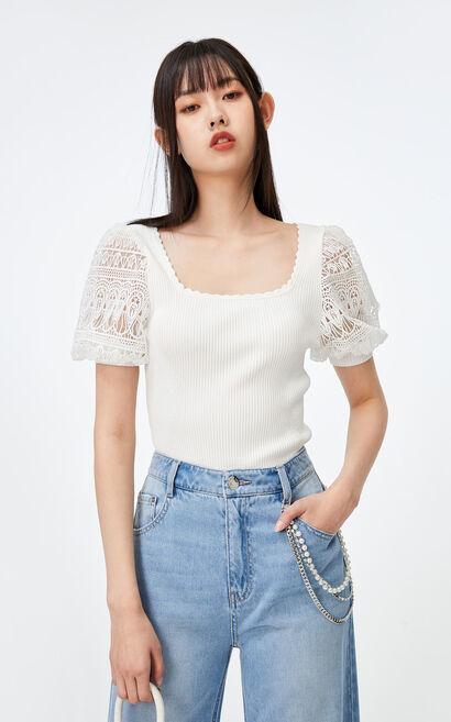 緹花方領短袖針織衫, 白, large