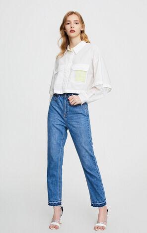 ONLY 寬鬆直筒高腰顯瘦九分牛仔褲|120149633