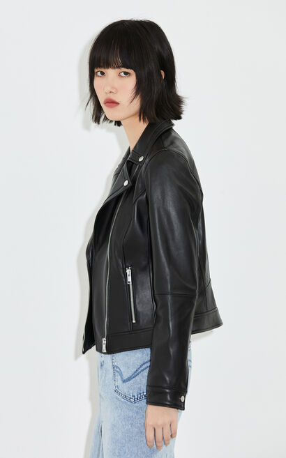 個性酷黑金屬拉鍊短版修身皮衣, 黑, large