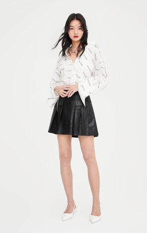 率性俐落多口袋鏈條設計百褶短裙