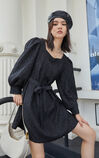 【秋冬新款】氣質泡泡袖紋理收腰洋裝, 黑, large