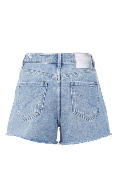 寬鬆毛邊刷破牛仔短褲, 藍, large