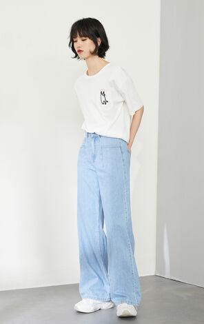 【秋冬新款】寬圓領卡通刺繡休閒短袖T恤