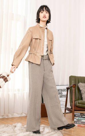 【春季新款】羊皮收腰短款皮衣外套