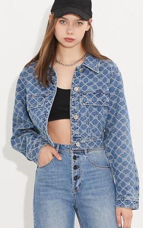 時尚摩登印花短版牛仔外套