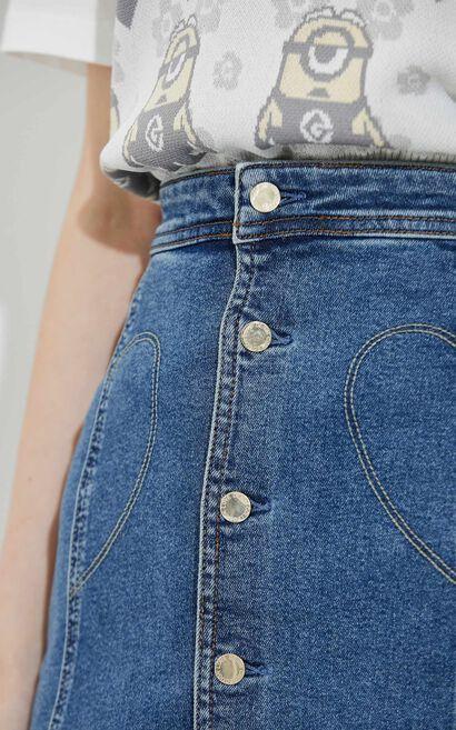 時尚俐落排扣牛仔裙, 藍, large