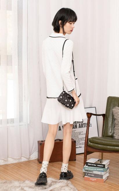 粗毛呢翻領針織洋裝, 白, large