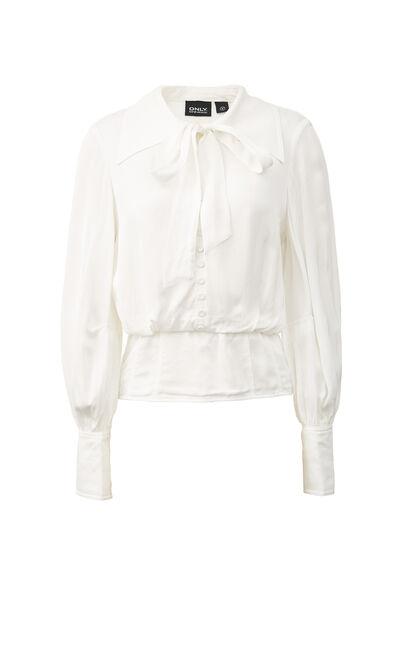 復古碎花繫帶氣質短款雪紡上衣, 白, large