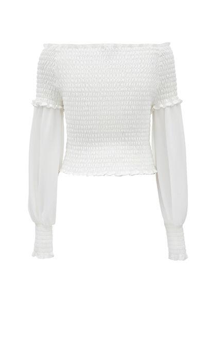 純白短版雪紡上衣, 白, large