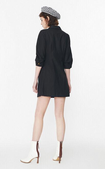 簡約收腰兩粒釦西裝領洋裝, 黑, large