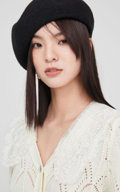 時尚甜美鏤空針織衫外套, 白, large