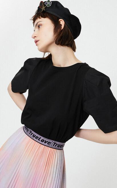 寬鬆泡泡袖純棉T恤, 黑, large