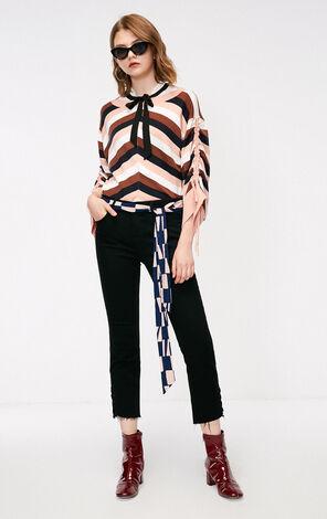 秋季新款寬鬆開叉繫帶針織衫女|118324531