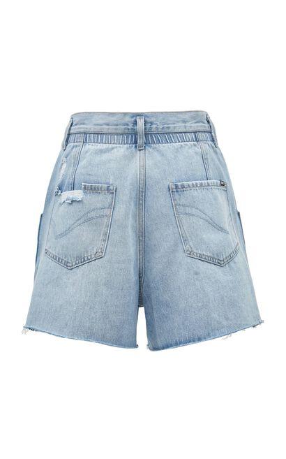 抽鬚刷破牛仔短褲, 藍, large