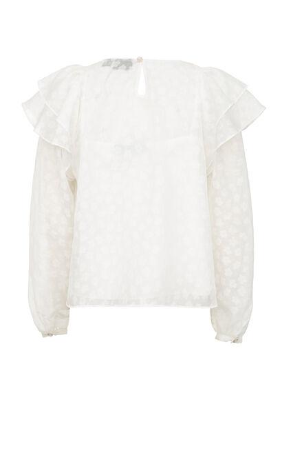 奶油白印花雪紡上衣, 白, large