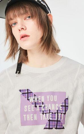 英文字寬鬆純棉短袖T恤