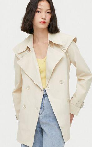 時尚修身純色雙排扣風衣外套