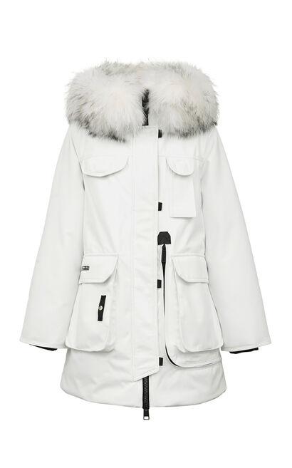 保暖毛領連帽中長款羽絨外套, 白, large