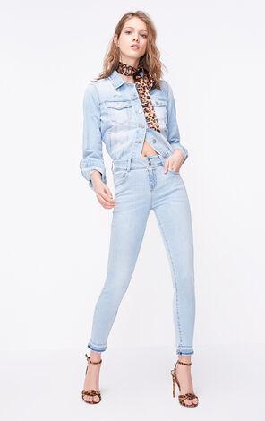 糖果色縫線裝飾 不收邊褲腳設計 提臀約克線