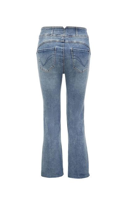 高腰蝴蝶結裝飾不收邊九分牛仔褲, 藍, large