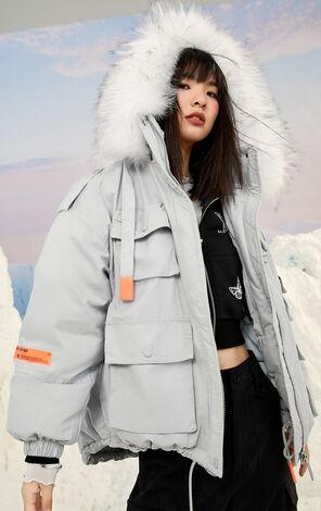 暖冬氣質毛領羽絨外套