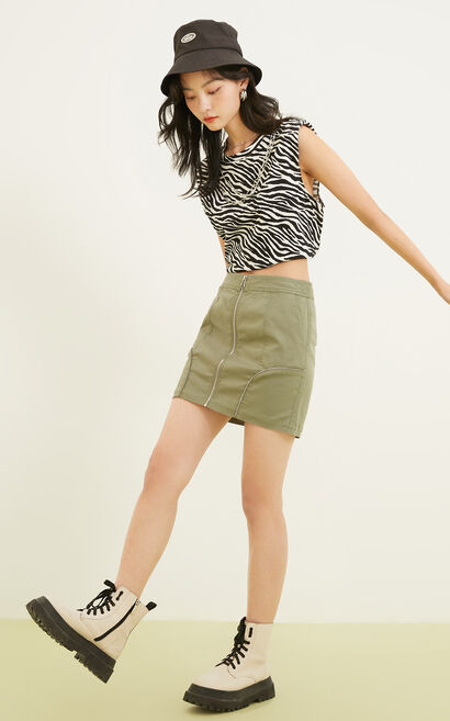 金屬拉鍊丹寧短裙, 軍綠, large