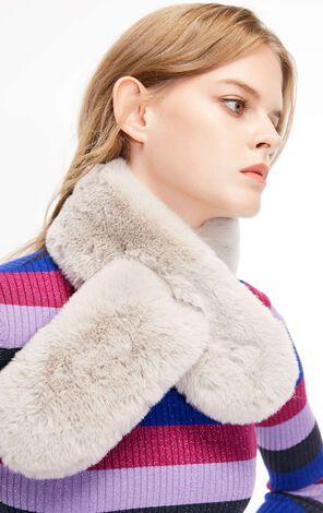 冬季新款簡約百搭長絨穿插式圍巾女|11846H501