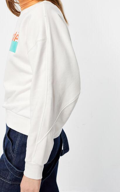 圓領印花寬鬆休閒衛衣, 白, large