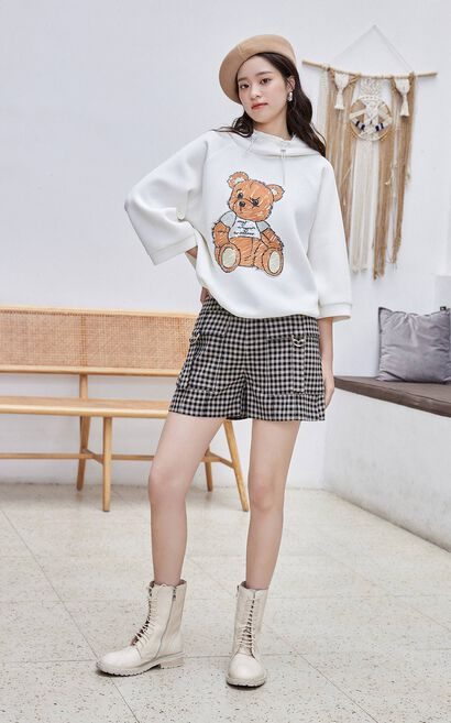 【冬季新款】百搭格紋高腰休閒短褲, 白, large