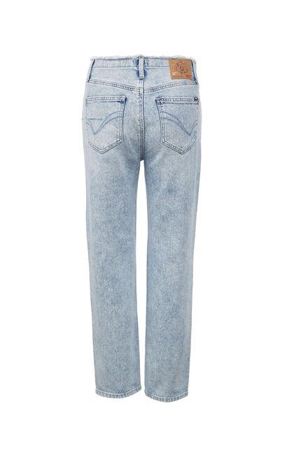 時尚破洞百搭直筒牛仔褲, 湖藍色, large
