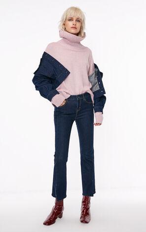 秋季新款含羊毛花色高領針織衫女|118313532