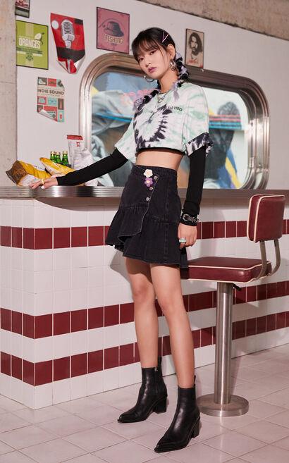 不對稱荷葉丹寧短裙, 黑, large