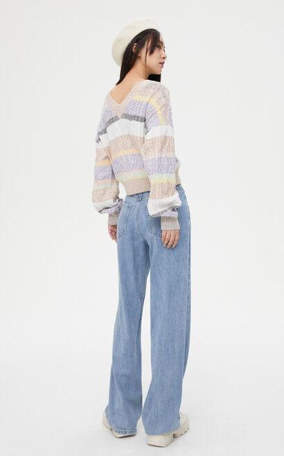 柔美寬條紋兩件式針織衫, 水藍色, large