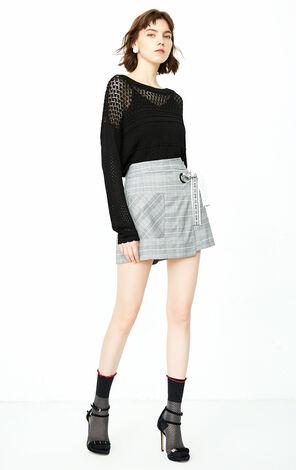 夏季新款圓領鏤空長袖針織衫女|118324507