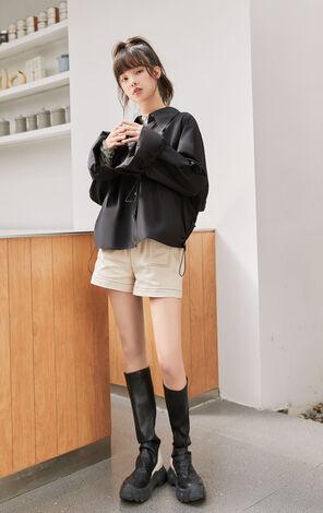 黑色純棉設計感抽繩襯衫