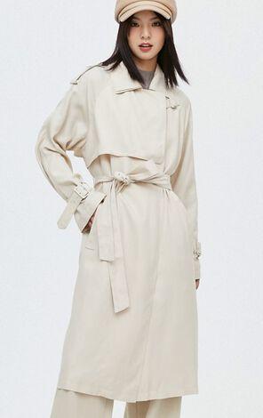 歐風氣質純色長版風衣外套