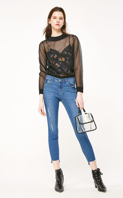 ONLY2019春季新款低腰磨破合身顯瘦九分牛仔褲 119149539, 藍, large