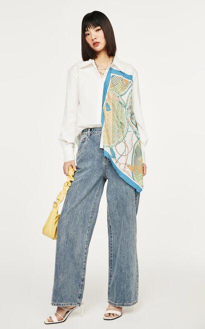 法式絲巾印不對襯長版襯衫, 白, large