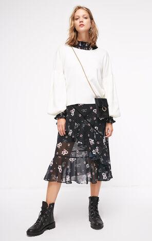 秋季新款交叉露背燈籠袖針織衫女|118324511